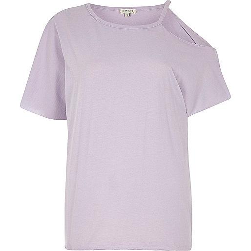 Purple one shoulder T-shirt