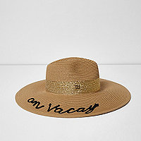 Light brown 'on vacay' straw fedora hat