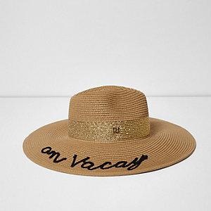 Chapeau fedora en paille marron clair « on vacay »