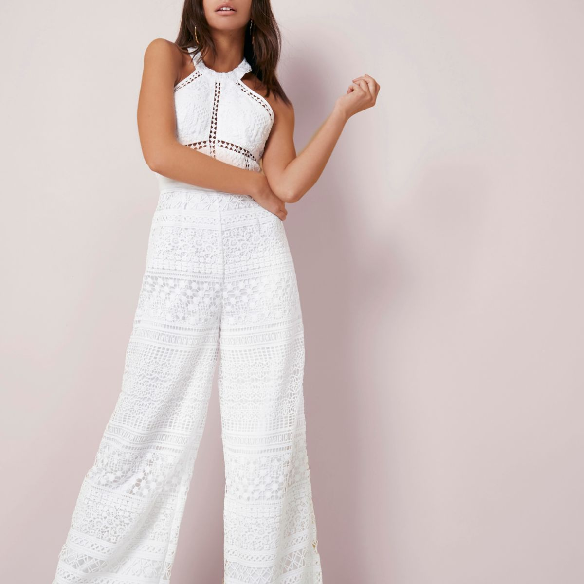 Cream lace halter neck wide leg jumpsuit