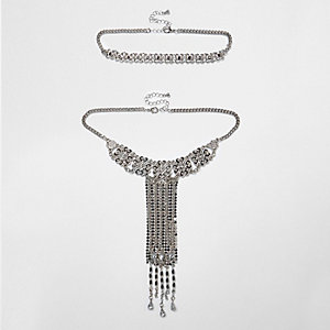 Silver tone drop statement choker set