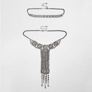 Lot de colliers ras-de-cou tendance argenté à pendentif