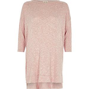 Pink knit side zip longline top