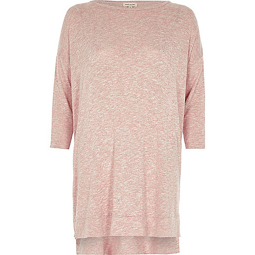 Pink knit side zip longline top