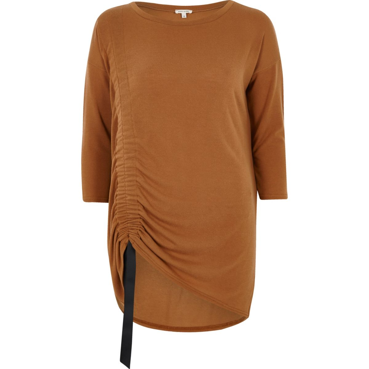 Camel ruched drawstring longline top