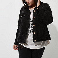 Plus black washed distressed denim jacket
