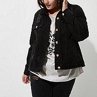Plus – Veste en jean noire délavée aspect usé