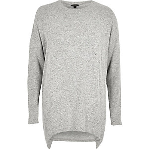 Grey marl asymmetric hem long sleeve top