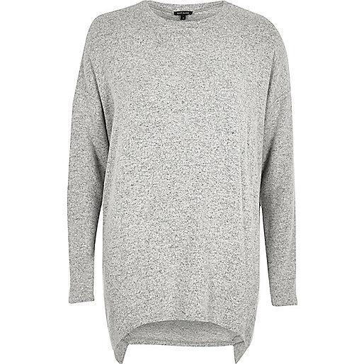 Grey marl asymmetric hem long sleeve top