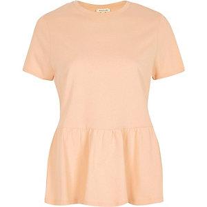Coral pink peplum hem T-shirt