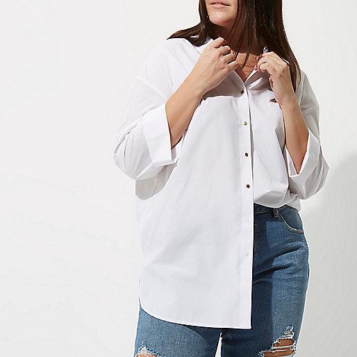 Plus white tie back oversized shirt