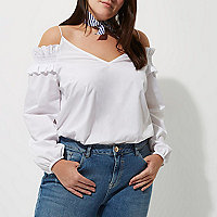 Plus white long sleeve bardot cami strap top