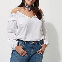 Plus white long sleeve bardot cami strap top