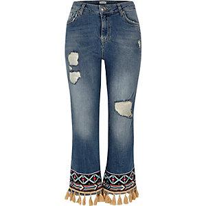 Blue ripped tassel hem straight leg jeans