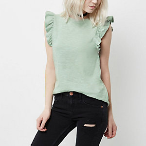 Petite light green frill sleeve top