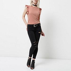 Petite pink slub frill sleeve top