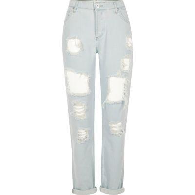 Lichtblauwe bleached ripped boyfriend jeans