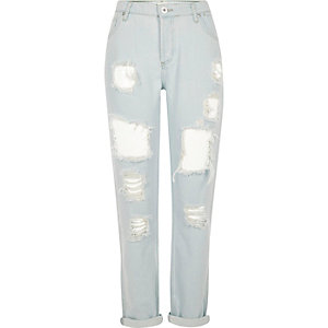 Light blue bleached ripped boyfriend jeans