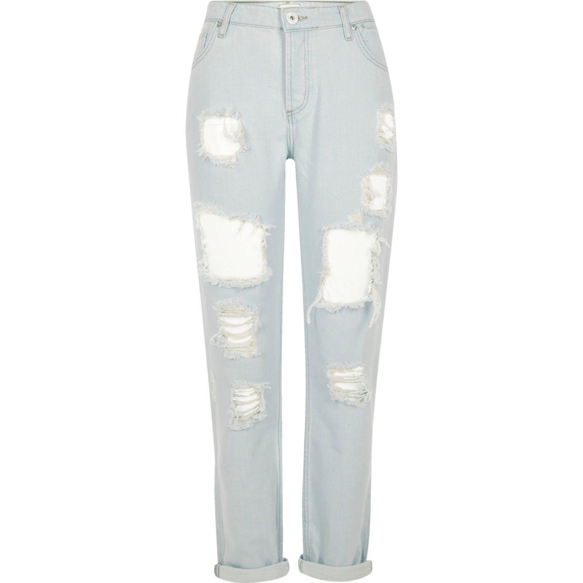 Light blue bleached ripped boyfriend jeans