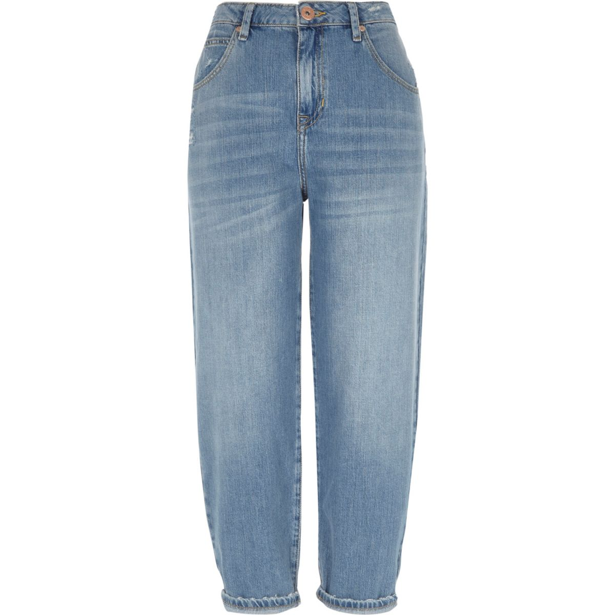 Mid blue authentic denim tapered jeans
