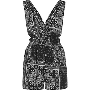 Black paisley cut out romper