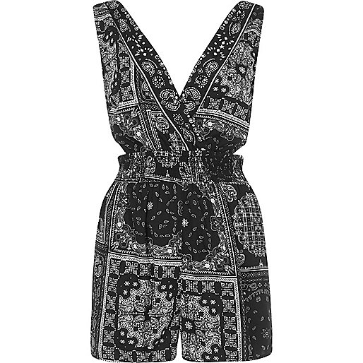 Black paisley cut out playsuit