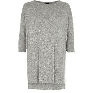 Grey knit side zip longline top