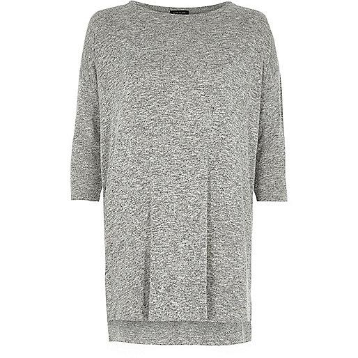 Grey knit side zip longline top