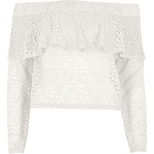 Cream lace deep frill bardot top