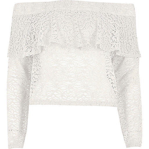 Cream lace deep frill bardot top