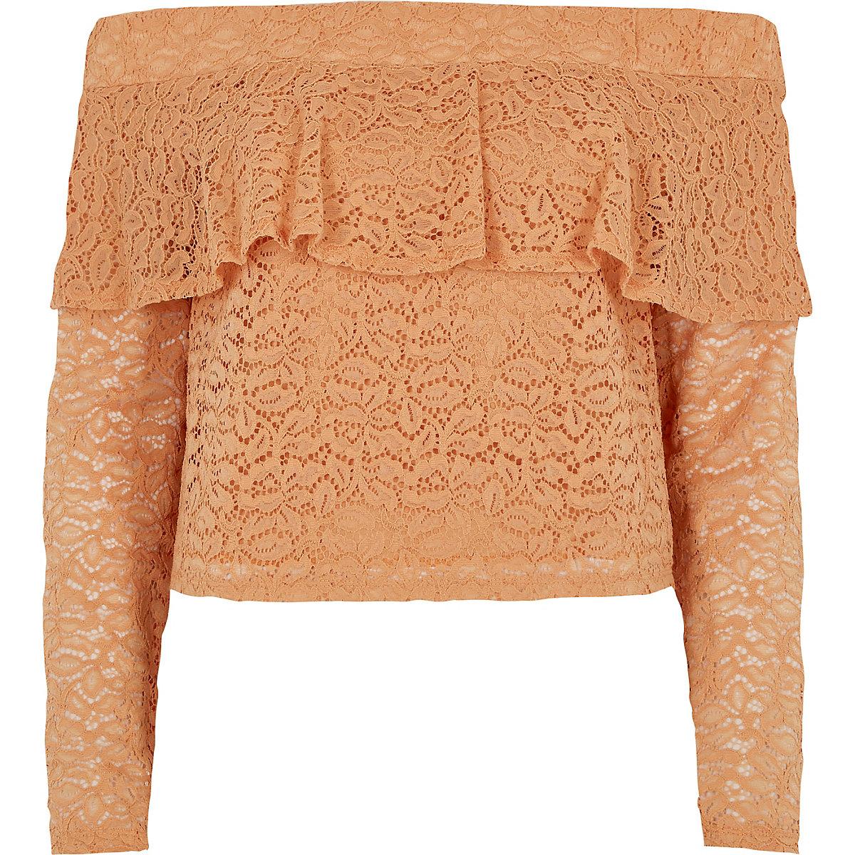 Light orange lace frill bardot top