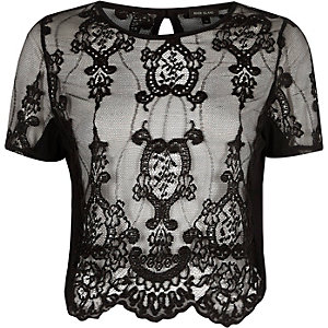 Black sheer lace short sleeve T-shirt