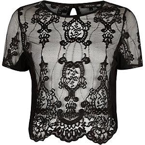 T-shirt en dentelle noir transparent à manches courtes