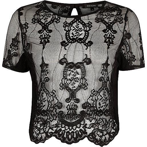 Black sheer lace short sleeve T-shirt