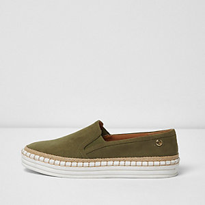 Khaki green wide fit espadrille plimsolls