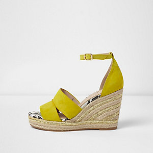 Yellow strappy espadrille wedges