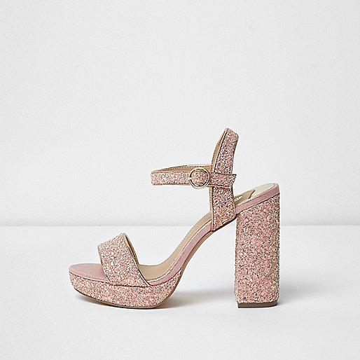 Pink glitter platform block heel sandals