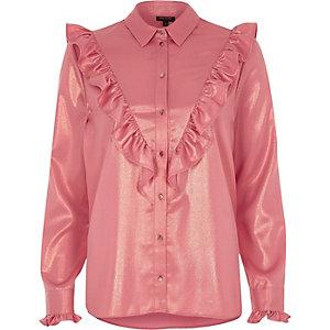 Roze metallic overhemd met ruches voor