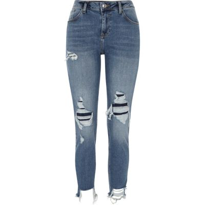 Alannah Blauwe ripped relaxed skinny-fit jeans