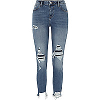 Alannah - Blauwe ripped relaxed skinny-fit jeans
