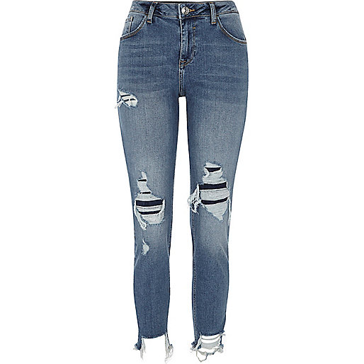 Blue Alannah ripped relaxed skinny fit jeans