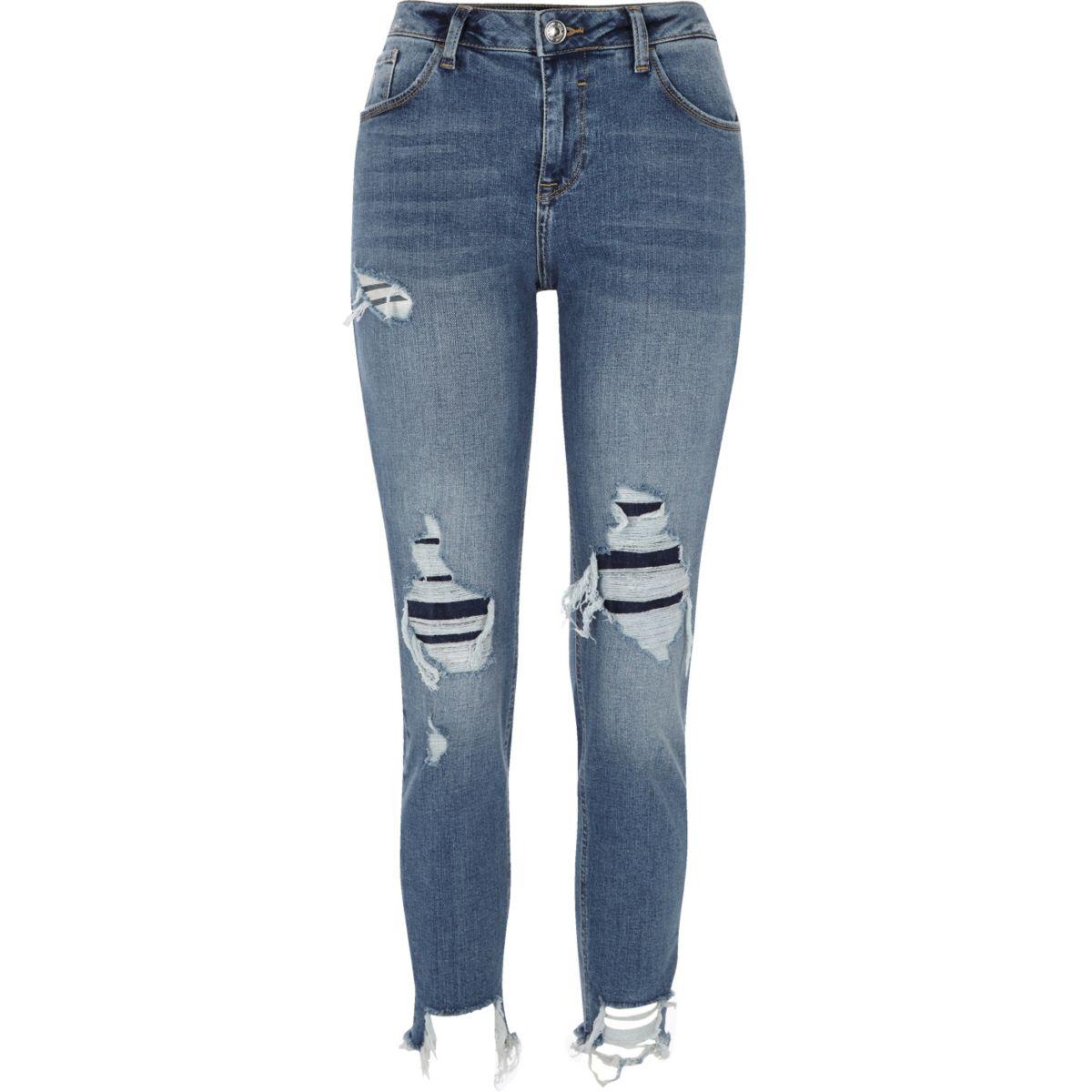 Alannah – Blaue Skinny Fit Jeans im Used-Look