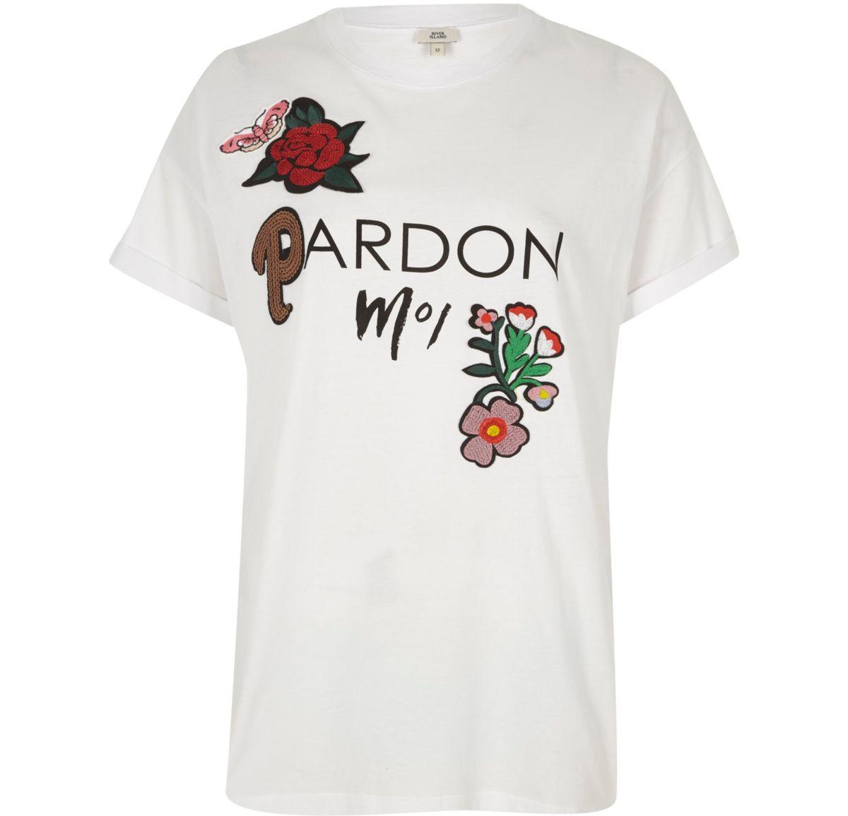 White 'pardon moi' floral appliqué T-shirt