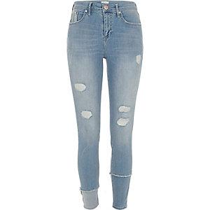 Molly – Jean super skinny bleu délavage moyen à couture déchirée