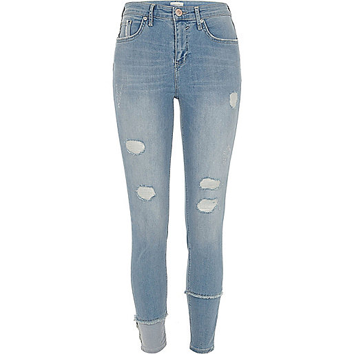 Mid blue Molly ripped seam super skinny jeans