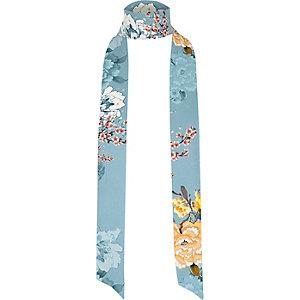 Écharpe fine à fleurs bleue