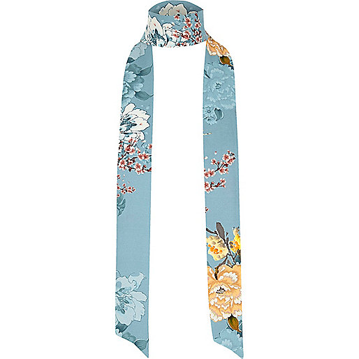 Blue floral print skinny scarf