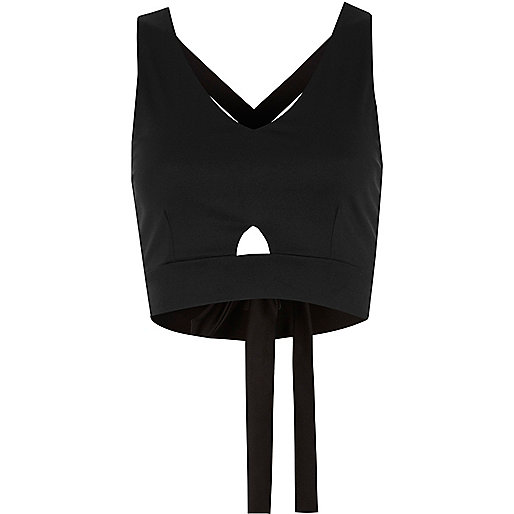 Black cut out strappy back crop top