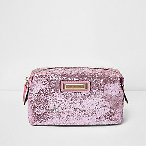 Pink glitter make-up bag