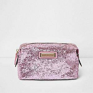 Roze make-uptasje met glitters